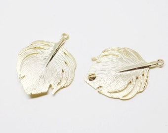P0499/anti-Tarnished Matte Gold Plating Over Brass/Leaf Pendant /24x33mm/2pcs