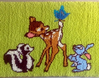 Walt Disney Productions Latch Hook Rug // Bambi Thumper Flower Hook Rug //  Disney