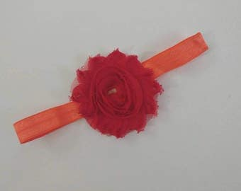 Baby headband, 0-3m, stretchy, 36-48cm, orange, red, handmade, sewn, on sale, clearance, baby gift, stocking stuffer, ready to ship