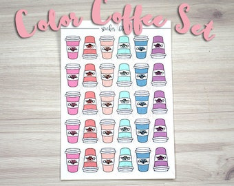 Coffee stickers planner stickers colorful Matte or Glossy -  for use with Erin condren planner  -#11