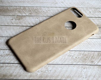 FREE SHIPPING - Personalized Beige iPhone 7 Plus Ultra Slim Leather Case