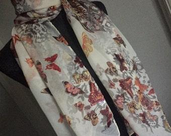 Scarf shawl cover up flowers cream grey brown orange birthday wedding