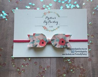 Farmhouse flower bow, flower bow, floral headband, pink flower bow, baby shower gift, toddler hair clip