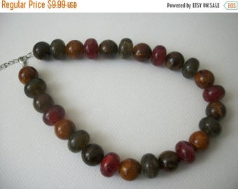 ON SALE Retro 1950s Chunky Translucent Heavier Marbleized Acrylic Beads Necklace 32517