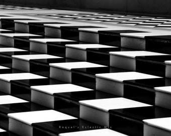 Latitude Lines, Black And White, Steps, Illusion, Graphic, Digital Download, Art photography, DIY Print, Rajasthan Style India.