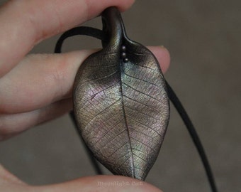 Leaf Necklace, Leaf Pendant, Metallic Leaf, Leaf Jewellery, Polymer Clay Leaf, Statement Necklace