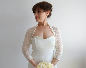 İvory bolero, crochet bolero shrug, bridal jacket, wedding cardigan, cream bolero, lacy shrug, 3/4 sleeve bolero, cream shrug, fast shipping