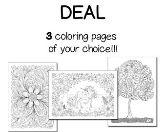 Pack of 3 coloring pages - Adult Coloring Book, anti stress, flowers, quotes, printable, adult colouring, mandala scrapbooking, Fleurdoodles