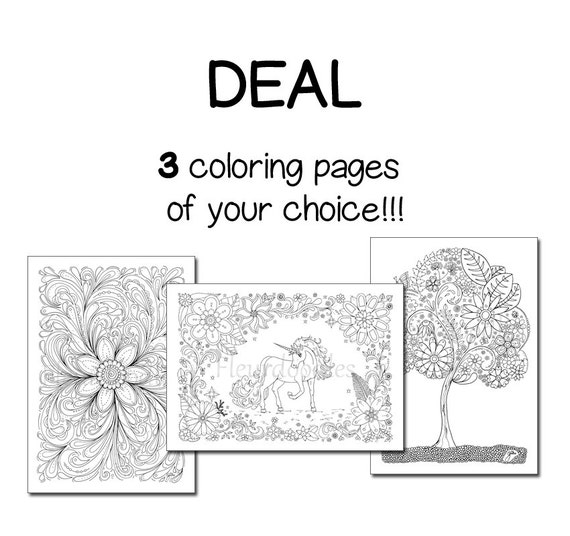 Items Similar To Pack Of 3 Coloring Pages