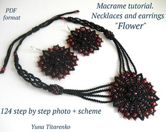 "Macrame tutorial. Necklace and earrings ""Flower"""