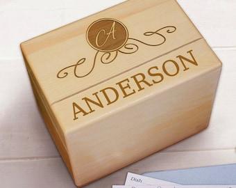 Recipe Box, Recipe Boxes, Recipe Card Box, Personalized Recipe Box, My Recipe Box, Wooden Recipe Box, MAPLE Box, Custom Family Recipe Box