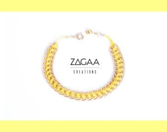 PRIMROSE yellow cotton and anodized aluminum bracelet