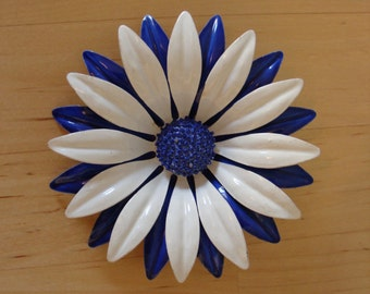 Vintage Enamel Flower Pin Brooch Blue White 60's Large Statement Fabulous Retro Kitsch Painted Enamel Petals Pretty Spring
