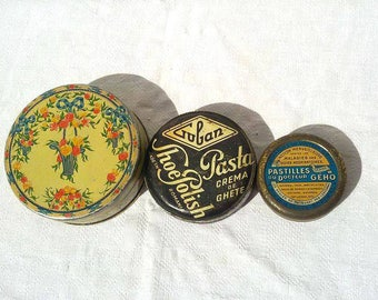 Set of 3 round tins boxes / Art deco tin box / candy box / Collection / Collectible tins / Old / Vintage / Retro / Cottage / Tins