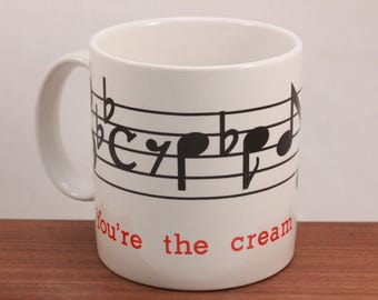 "New! Vintage Music Note Coffee Mug. ""Your the cream in my coffee""  Original gift box."