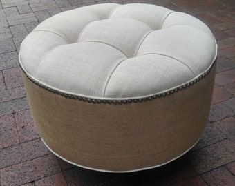 Upholstered- Tufted- Linen and Burlap- Round Ottoman- Pouf~ Design 59