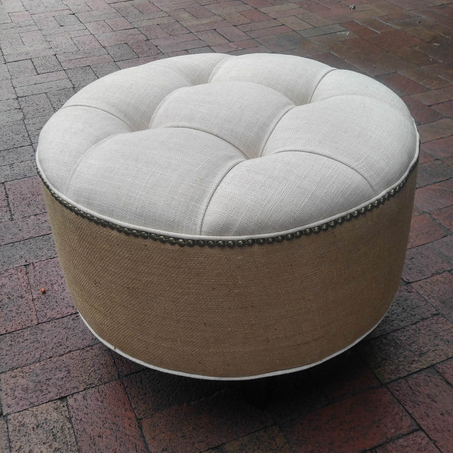 Upholstered Tufted Linen And Burlap Round Ottoman Pouf