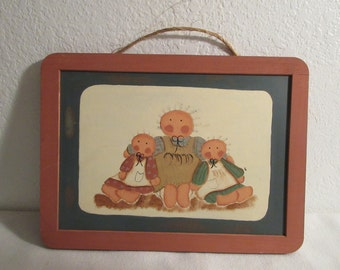 Vintage Colorful Hand Painted Doll Chalkboard