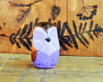 purple polymer clay owl collectible owl totem pocket owl