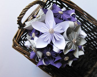Paper bouquet, wedding bouquet, kusudama flowers, paper flowers, purple bouquet, custom bridal bouquet, origami flowers, paper wedding