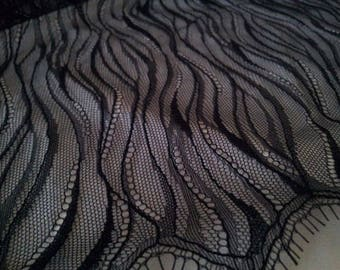 Black Lace fabric French Lace, Chantilly Lace, Bridal lace Wedding Lace Evening dress lace Scalloped Floral lace Lingerie Lace M000016