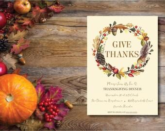 Give Thanks DIY Printable Thanksgiving Dinner Invitation