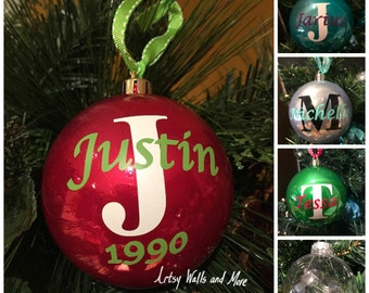 Personalized monogram Christmas Ornament Ball Name and Initial, customizable shatterproof Christmas Gift, monogram Christmas ornament