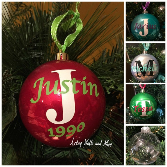 Personalized monogram Christmas Ornament Ball Name and