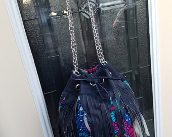 """African Print Fringe Bucket Bag- """"Rume"""" Collection"""