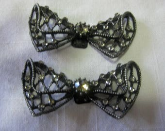 BLACK AND SILVER Bow With Rhinestones Shoe Clips Vintage Mid Century