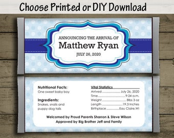 Birth Announcement Candy Bar Wrappers -  Print and deliver or DIY digital download!  Free SHIPPING!
