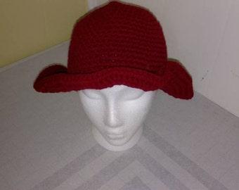 Crocheted Maroon Wavy Brim Hat