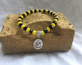 Smiley face. Acid house bracelet.