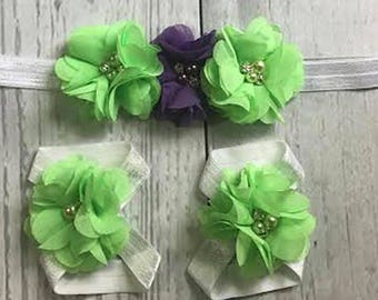 Baby Headband / Baby Girl Headband / Headband Set / Mint / Purple / Baby Bows / Girls Hair Bows / Infant Headband / Barefoot Sandals / Baby