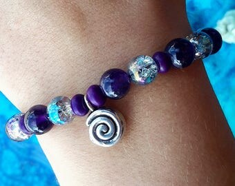 Purple Spiral Stretch Charm Bracelet OOAK