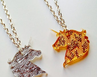 Unicorn | Horse | Emo | Mirrored | Textured | Gold | Silver | Laser Cut | Acrylic | Necklace