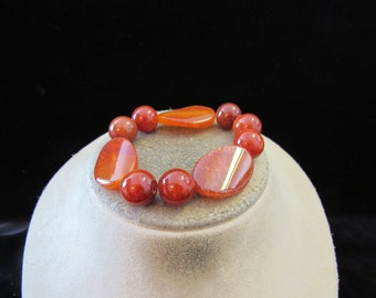 Vintage Orange-Brown Glass Marble Bracelet
