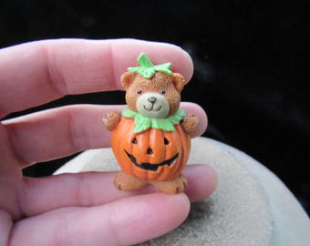 Vintage Halloween Teddy Bear Dressed As Pumpkin Pin