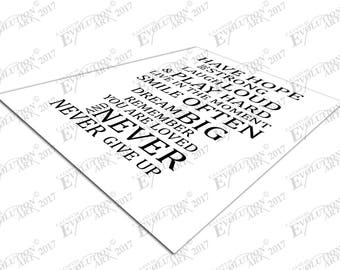 Print on Canvas white & black quote Have Hope be strong Text typography X1861