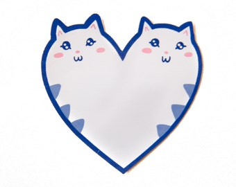 Cute Kitty Heart Sticker for Cat Lovers - Blue, Pink, and White Kawaii Vinyl Sticker for Scrapbooking, Notebook, Wall, and More