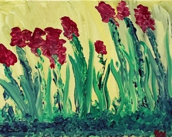 """Floral Acrylic Painting on 11"""" x 14"""" Wrapped Canvas"""