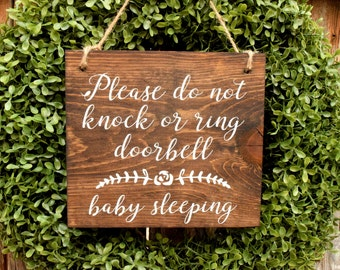 Please do no knock or ring doorbell baby sleeping | Baby Sleeping Sign | Sleeping Baby Sign | New Baby Gift | Baby Shower Gift