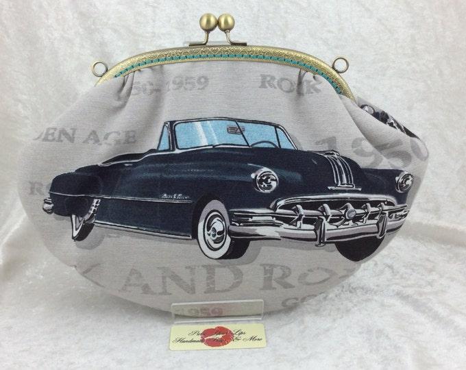 The Grace frame bag. 50s American Car Rock & Roll fabric clutch handbag purse handmade in England