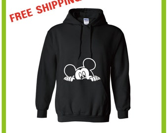 Peekaboo Mickey Mouse / Disney / Peeking / Hoodie / FREE SHIPPING