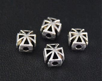 30pcs Antique Silver Cross Spacer Beads Charms Pendant A2110