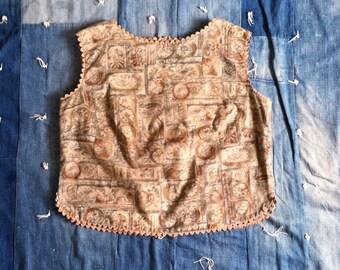 1950s Crop Top - Vintage 50s Cotton Print Top xs