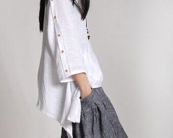 White linen tunic loose cotton top spring linen top asymmetrical shirt maxi blouse plus size clothing linen clothing