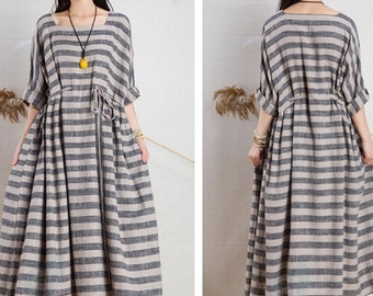 Loose casual linen dress long cotton blouse bat-wing linen maxi dress oversize caftan tunic dress plus size clothing