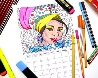 Printable Coloring Calendar 2017   Indian & African Girl Portraits   PDF Download