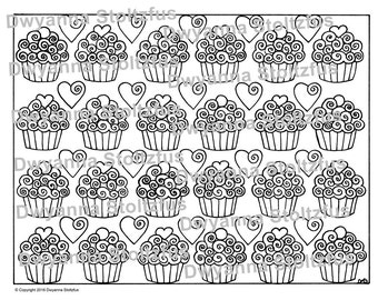Cupcakes and Hearts Coloring Page